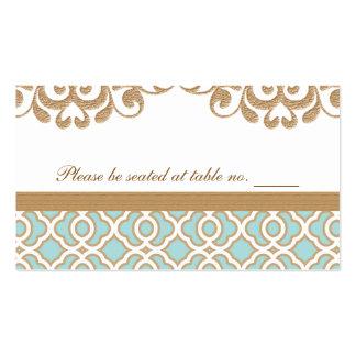 Lugar marroquí de la tabla del boda del oro azul d tarjeta de visita