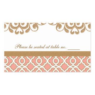 Lugar marroquí de la tabla del boda del oro corali plantilla de tarjeta personal