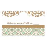 Lugar marroquí de la tabla del boda del oro de ver tarjetas de visita