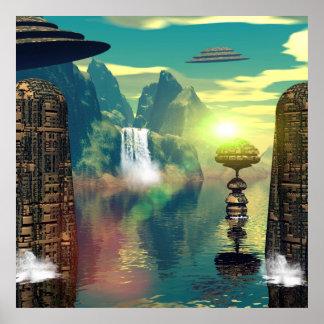 Lugar místico con las naves y los edificios del póster