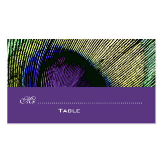 Lugar púrpura del fiesta del pavo real n tarjetas de visita