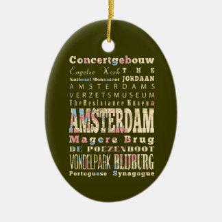 Lugares famosos de Amsterdam, Países Bajos Adorno Navideño Ovalado De Cerámica
