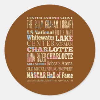 Lugares famosos de Charlotte, Carolina del Norte. Pegatina Redonda