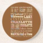 Lugares famosos de Charlotte, Carolina del Norte. Posavasos Cerveza