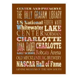 Lugares famosos de Charlotte, Carolina del Norte. Postal