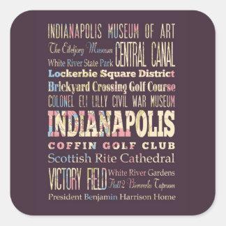 Lugares famosos de Indianapolis, Indiana Pegatina Cuadrada