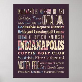 Lugares famosos de Indianapolis, Indiana Póster