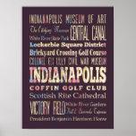 Lugares famosos de Indianapolis, Indiana Posters