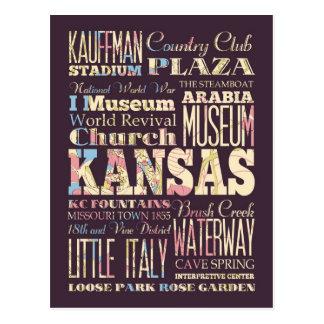 Lugares famosos de Kansas, Estados Unidos. Tarjetas Postales