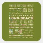 Lugares famosos de Long Beach, California Colcomanias Cuadradas Personalizadas