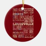 Lugares famosos de Louisville, Kentucky Adorno Navideño Redondo De Cerámica