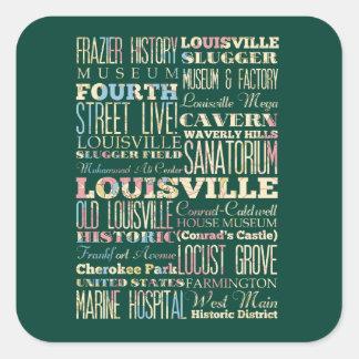 Lugares famosos de Louisville, Kentucky Pegatina Cuadrada