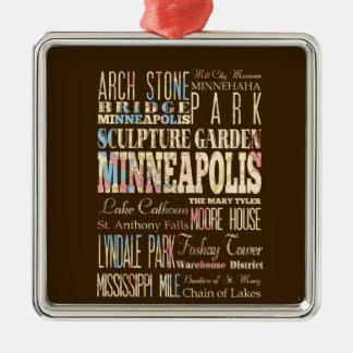 Lugares famosos de Minneapolis, Minnesota Adorno Navideño Cuadrado De Metal