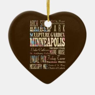 Lugares famosos de Minneapolis, Minnesota Adorno Navideño De Cerámica En Forma De Corazón