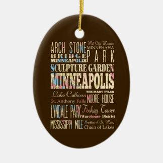 Lugares famosos de Minneapolis, Minnesota Adorno Navideño Ovalado De Cerámica