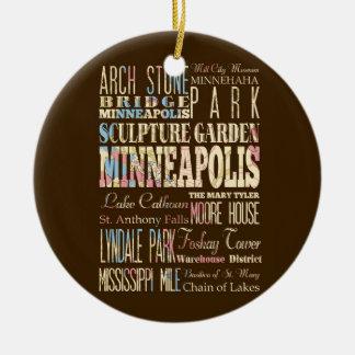 Lugares famosos de Minneapolis, Minnesota Adorno Navideño Redondo De Cerámica