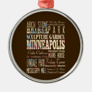 Lugares famosos de Minneapolis, Minnesota Adorno Navideño Redondo De Metal