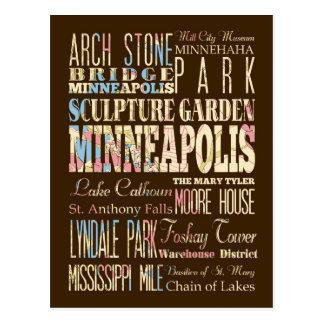 Lugares famosos de Minneapolis, Minnesota Postales