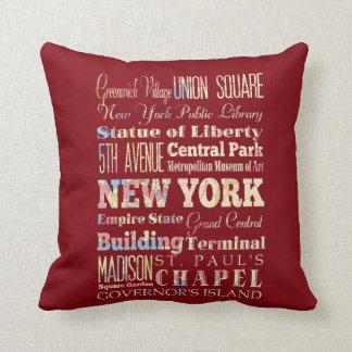 Lugares famosos de Nueva York, Estados Unidos. Cojines