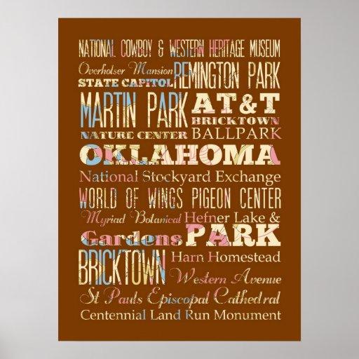 Lugares famosos de Oklahoma, Estados Unidos. Poster