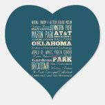 Lugares famosos de Oklahoma, Estados Unidos. Calcomanía Corazón Personalizadas