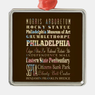 Lugares famosos de Philadelphia, Pennsylvania Adorno Navideño Cuadrado De Metal