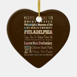 Lugares famosos de Philadelphia, Pennsylvania Adorno Navideño De Cerámica En Forma De Corazón