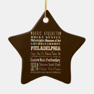 Lugares famosos de Philadelphia, Pennsylvania Adorno Navideño De Cerámica En Forma De Estrella