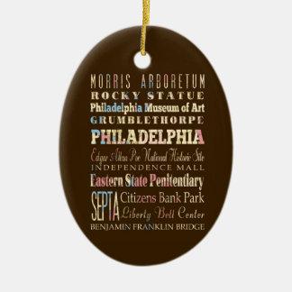 Lugares famosos de Philadelphia, Pennsylvania Adorno Navideño Ovalado De Cerámica