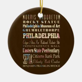 Lugares famosos de Philadelphia, Pennsylvania Adorno Navideño Redondo De Cerámica
