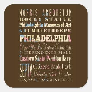 Lugares famosos de Philadelphia, Pennsylvania Pegatina Cuadrada