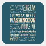 Lugares famosos de Washington, distrito de Pegatina Cuadrada