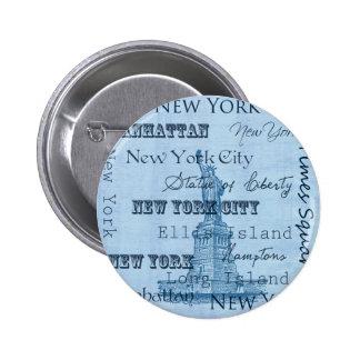 Lugares Nueva York Pin Redondo De 2 Pulgadas