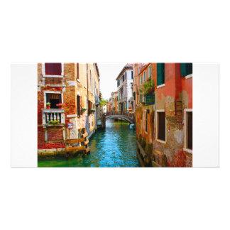 Lugares románticos en Venecia con los canales y be Tarjetas Fotograficas