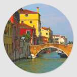 Lugares románticos en Venecia Pegatina Redonda