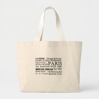 Lugares y tote franceses de los destinos bolsas