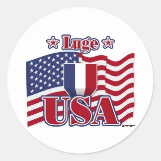 Luge USA Classic Round Sticker