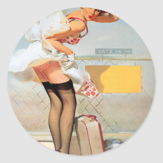 Luggage accident pinup girl classic round sticker