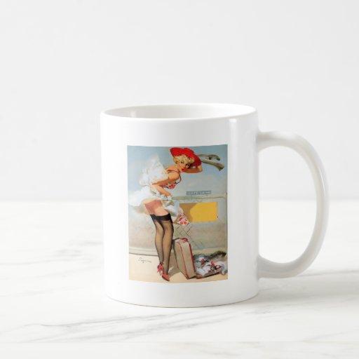 Luggage accident pinup girl coffee mug