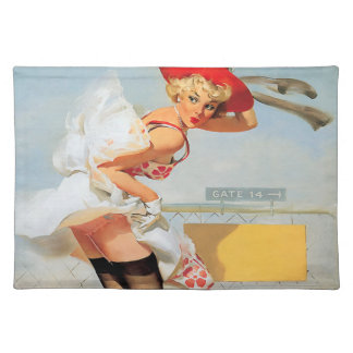 Luggage accident pinup girl place mat
