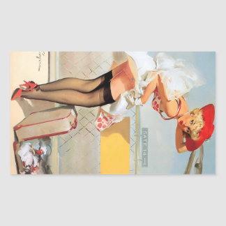 Luggage accident pinup girl rectangular sticker