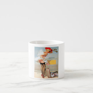 Luggage accident pinup girl espresso cup