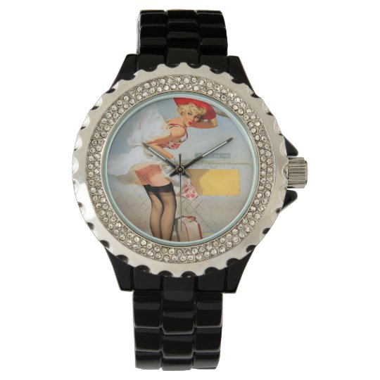 Luggage accident pinup girl wristwatch