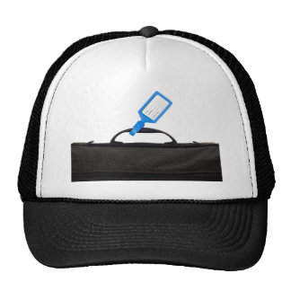 Luggage bag with identification tag trucker hat