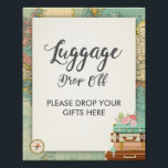 "Luggage drop Off Sign Travel shower Miss to Mrs<br><div class=""desc"">♥ A nice way to welcome your guests to your bridal shower! Miss to Mrs theme.</div>"