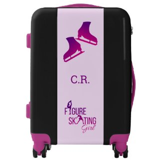 Luggage Figure Skating girl purple pink monogram