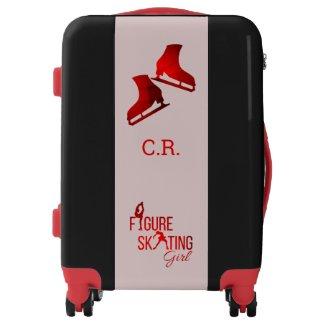 Luggage Figure Skating girl red monogram