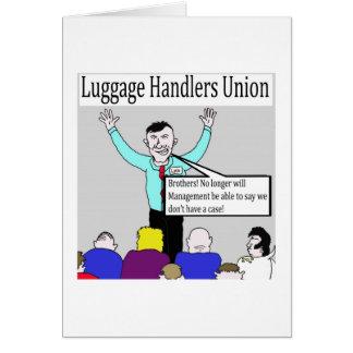 Luggage handlers cartoon greetings card. card