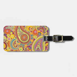 luggage label with paisley design