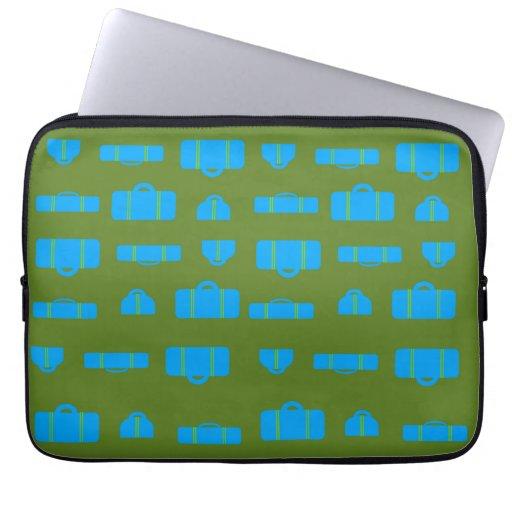 Luggage Pattern Blue Green Laptop Sleeve